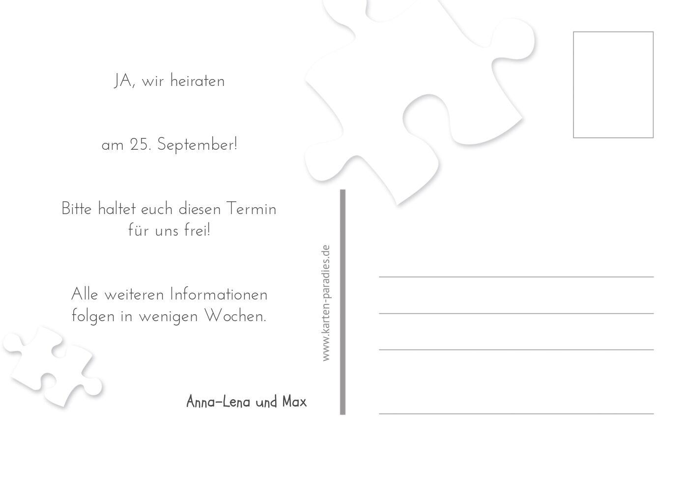 Ansicht 3 - Hochzeit Save-the-Date Puzzleteile