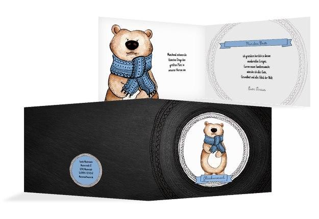 Glückwunschkarte zur Geburt Vintage Bär