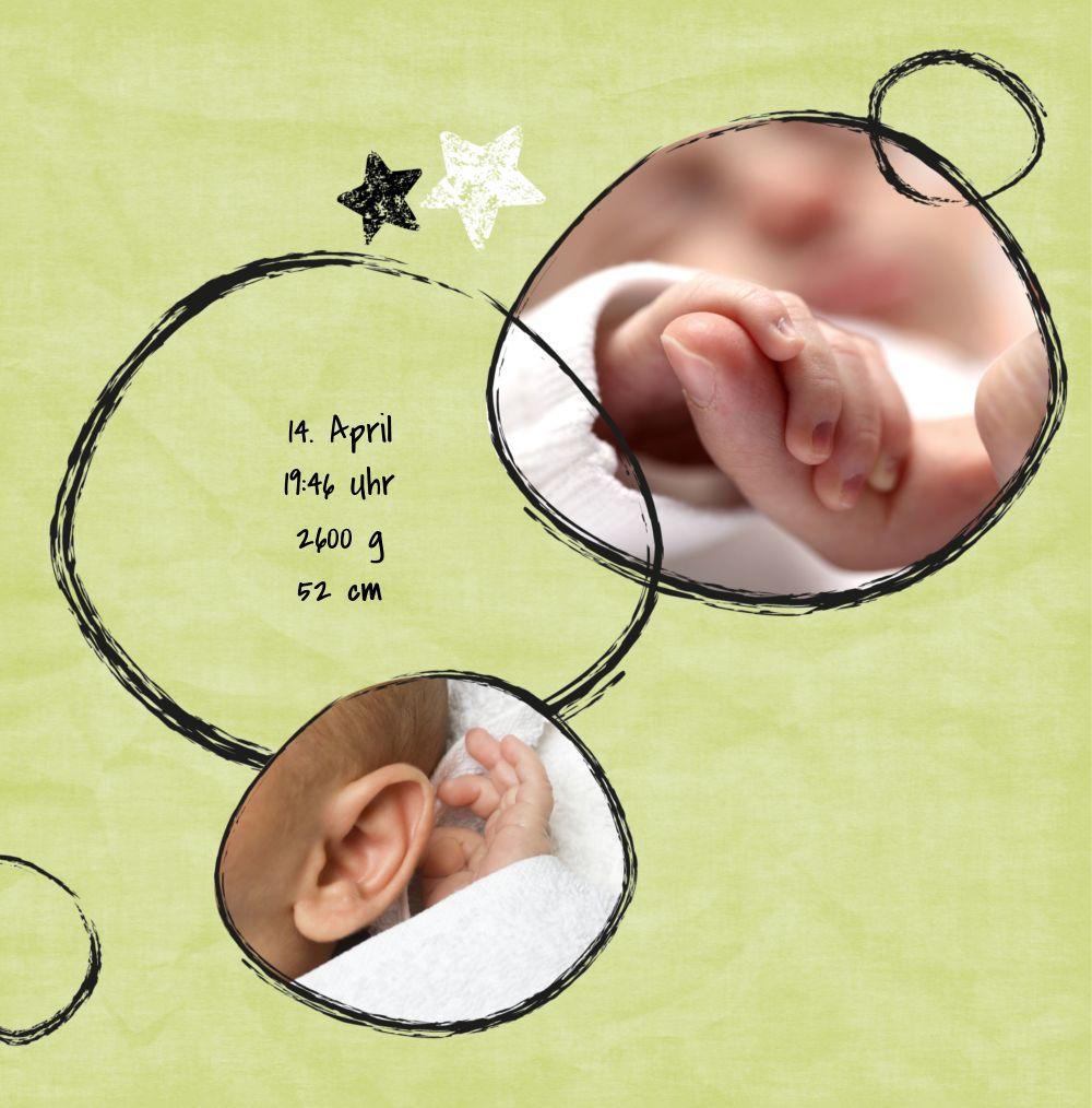 Ansicht 4 - Karte zur Geburt Kreidepapier
