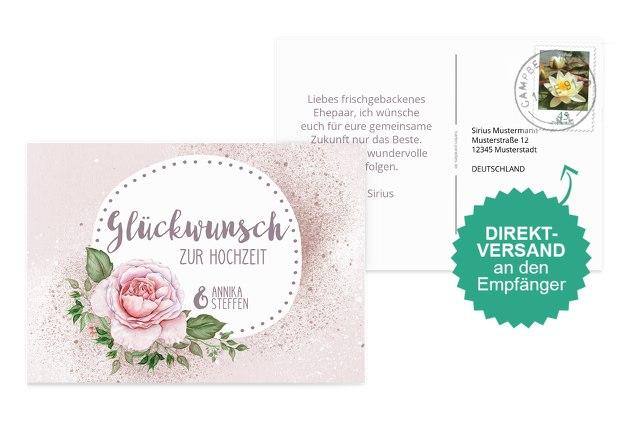 Glückwunschkarte zur Hochzeit Blume