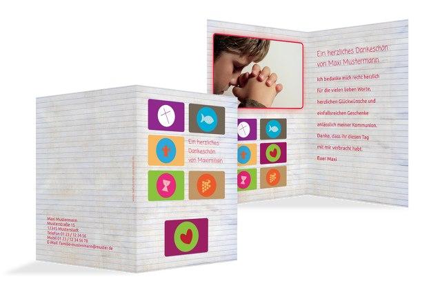 Kommunion Dankeskarte buttons