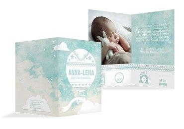 Baby Dankeskarte Ballonfahrt