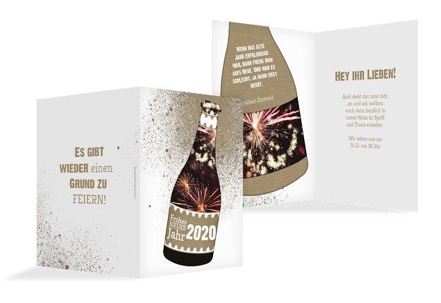 Neujahrskarte Sektflasche
