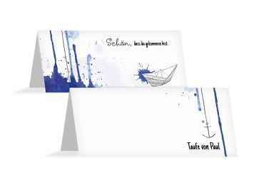 Taufe Tischkarte Origamischiff