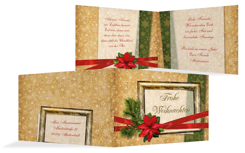 Grußkarte Weihnachten Goldenes Geschenk
