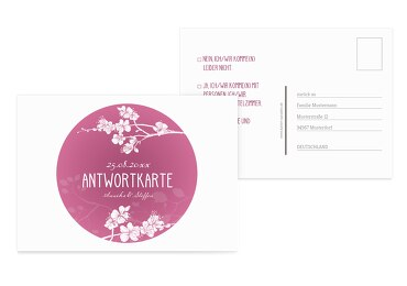 Antwortkarte Cherry Blossom Pinkrosa 148x105mm