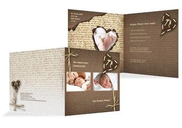 Baby Dankeskarte Gedicht mit Herz