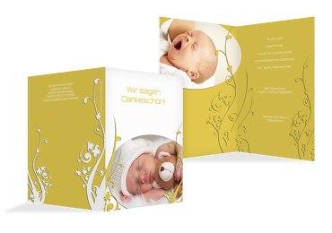 Taufe Dankeskarte Florale Schnörkel