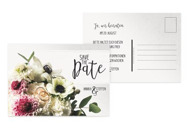 Save-the-Date Bouquet Lilarosa 148x105mm