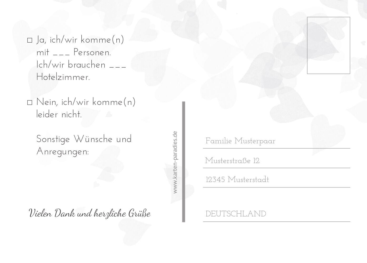 Ansicht 3 - Hochzeit Antwortkarte ewiges Band