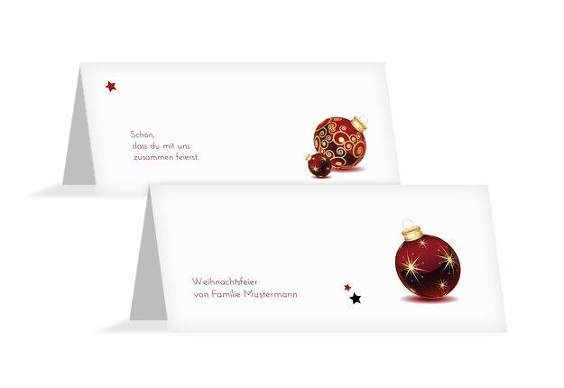 Tischkarte Weihnachtskugeln