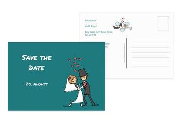 Save-the-Date Comic Brautpaar