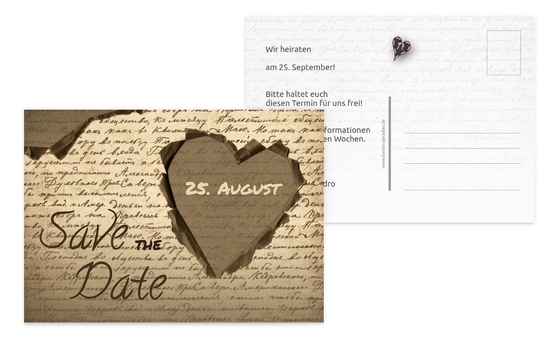 Hochzeit Save the Date Herzensgedicht