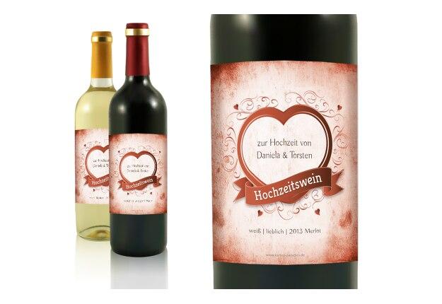 Hochzeit Flaschenetikett Herz