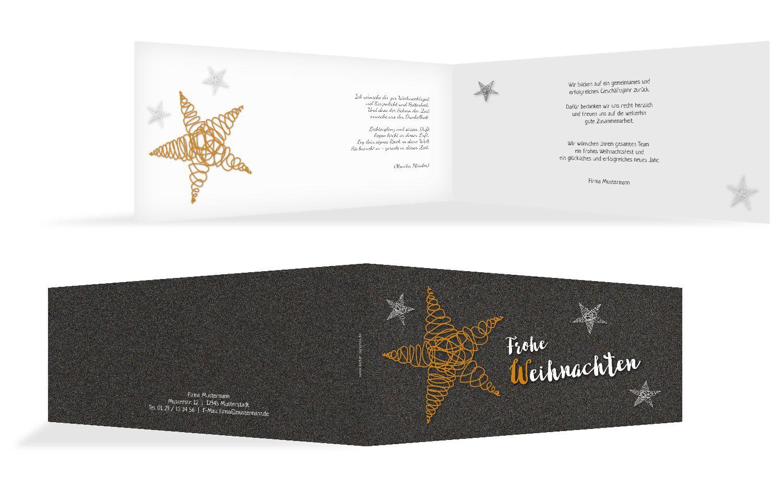 Grußkarte Weihnachten curly star