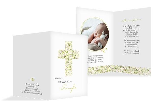 Taufkarte Blumenkreuz
