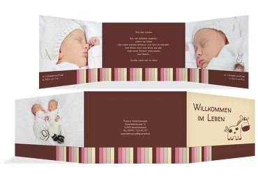 Babykarte Zwillinge Retro