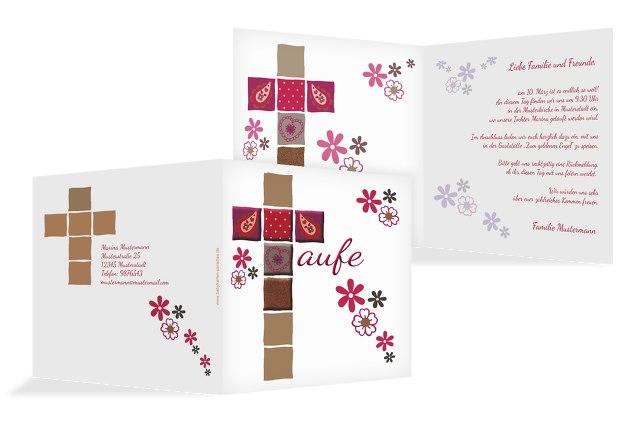 Taufkarte Florales Kreuz
