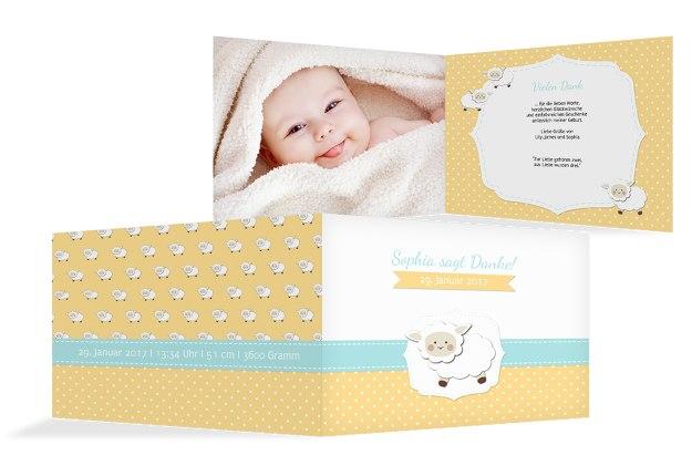 Baby Dankeskarte Schäfchenherde