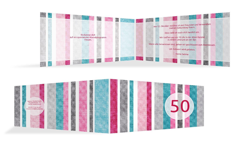 Einladung Gestreift 50