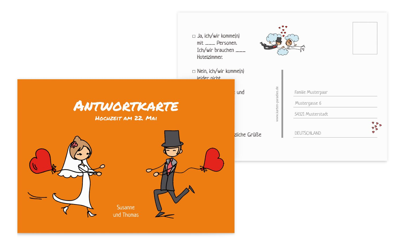 Hochzeit Antwortkarte Comic Brautpaar