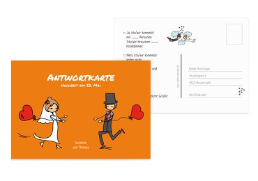 Antwortkarte Comic Brautpaar Orange 148x105mm