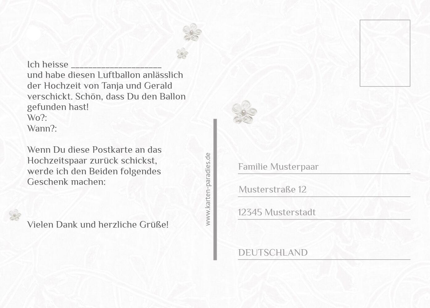 Ansicht 3 - Hochzeit Ballonkarte sanfte Blüte