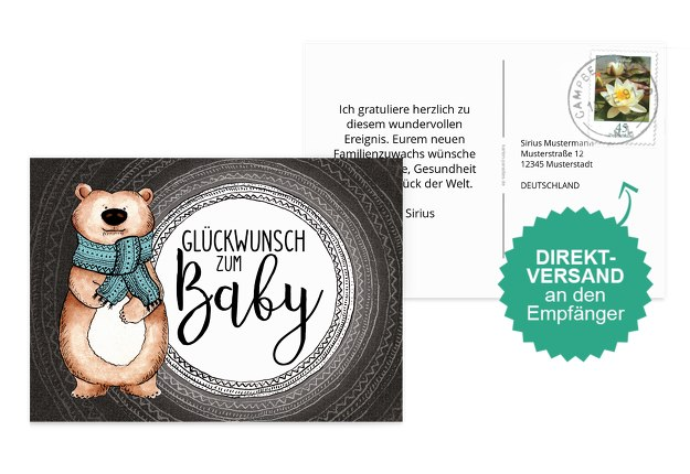 Glückwunschkarte zur Geburt Bär