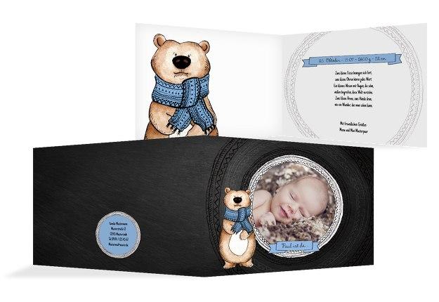 Babykarte Vintage Bär