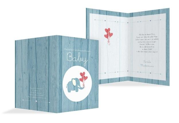 Glückwunschkarte zur Geburt Elefant