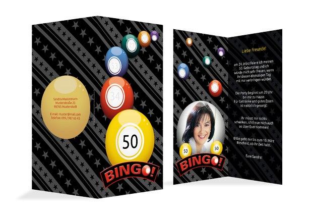 Einladung zum Geburtstag Bingo 50 Foto
