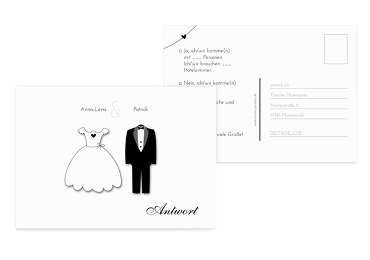 Hochzeit Antwortkarte dress and suit Weiß 148x105mm