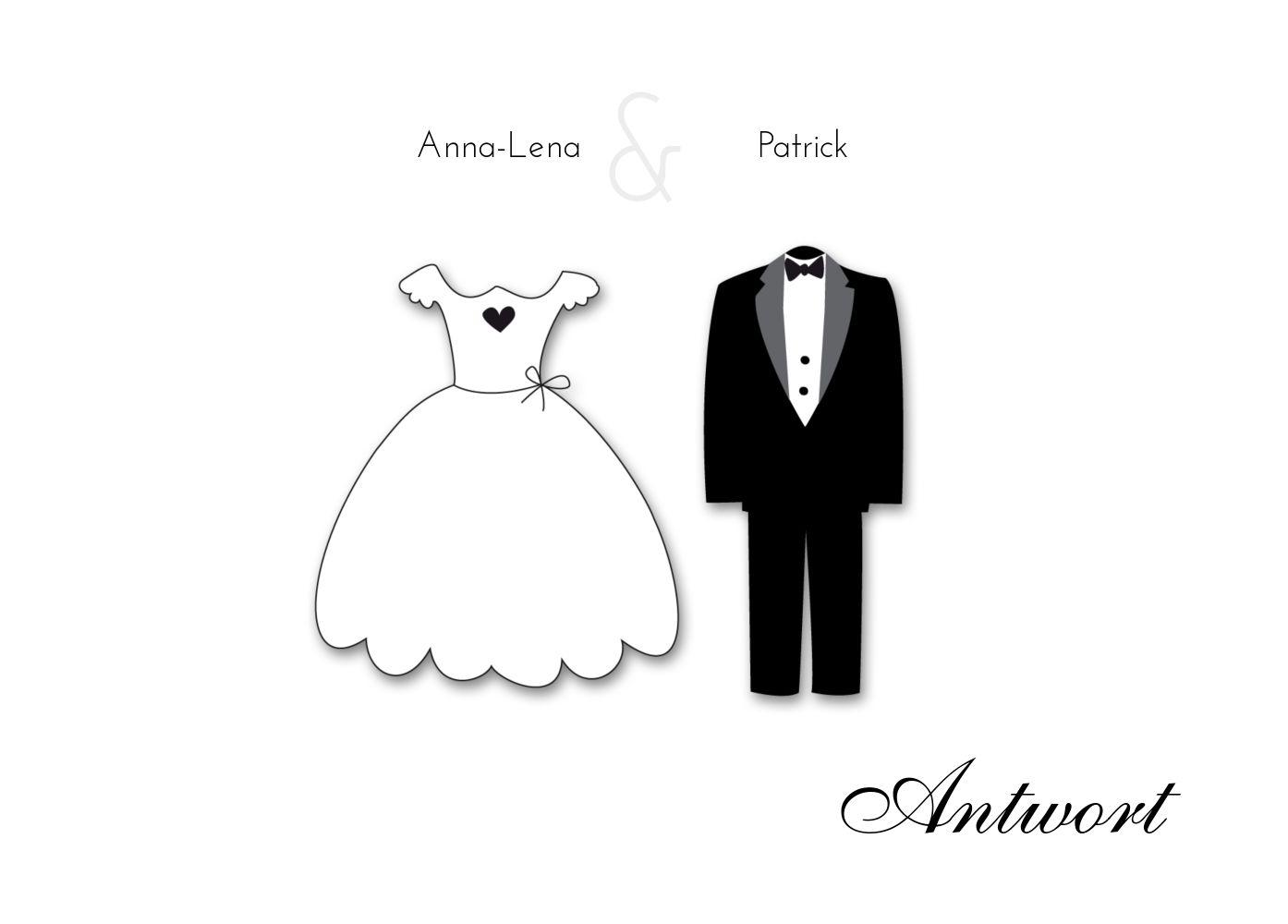 Ansicht 2 - Hochzeit Antwortkarte dress and suit