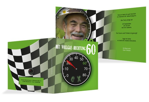 Geburtstagseinladung Vollgas 60