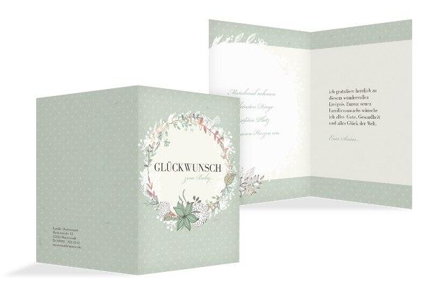 Glückwunschkarte zur Geburt Blumenranke