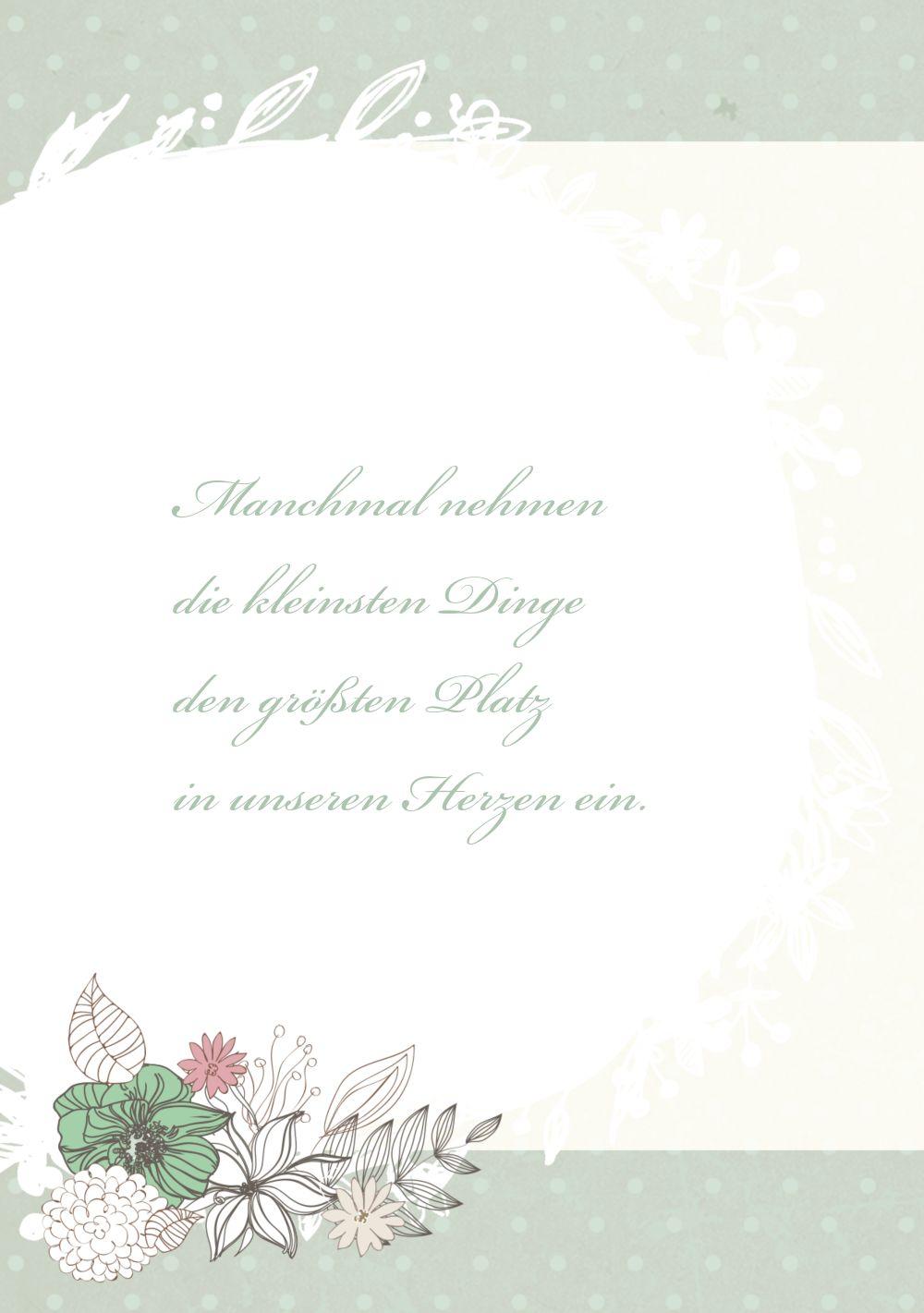 Ansicht 4 - Glückwunschkarte zur Geburt Blumenranke