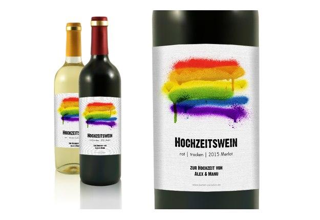 Flaschenetikett Regenbogenliebe