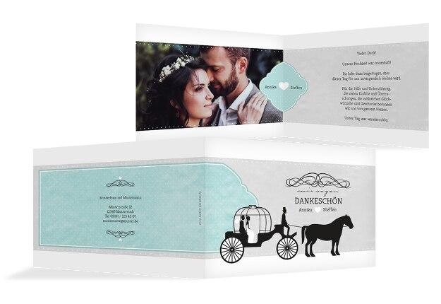 Hochzeit Dankeskarte Kutsche