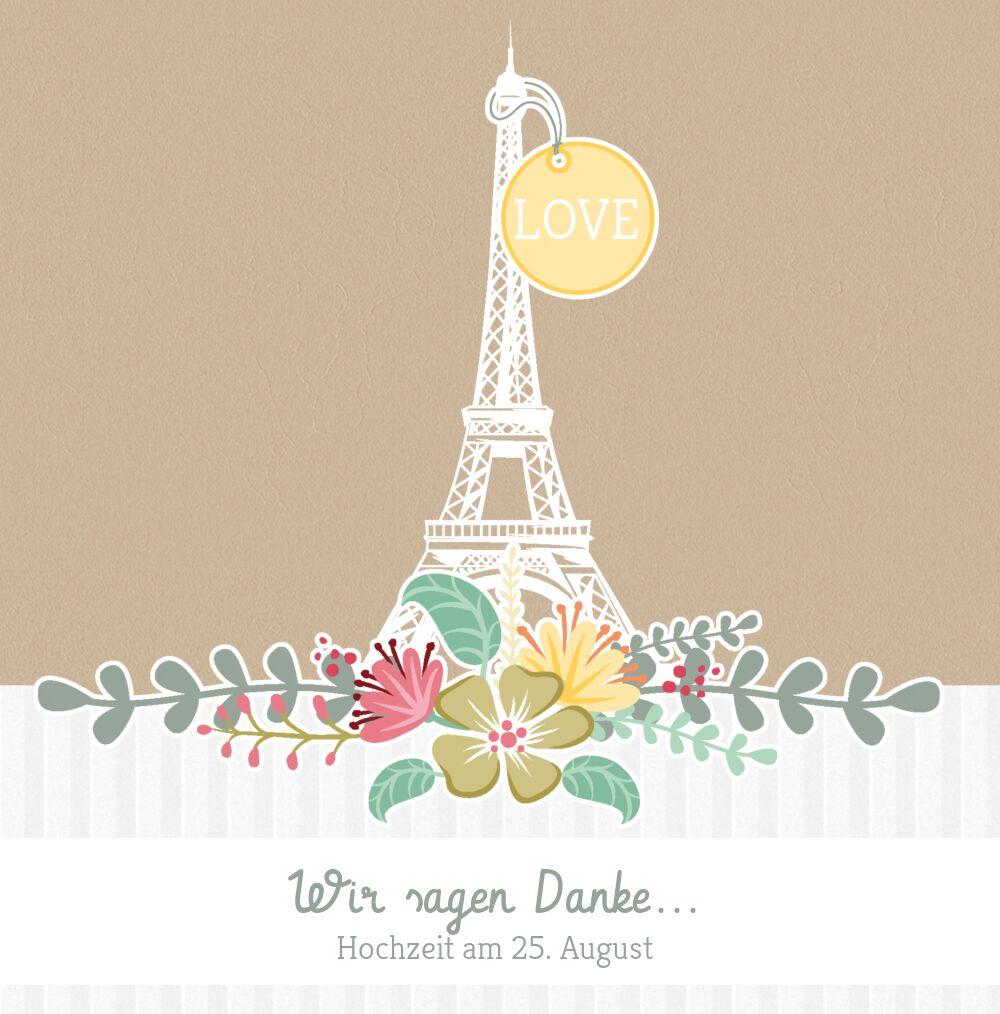 Ansicht 3 - Hochzeit Dankeskarte Paris