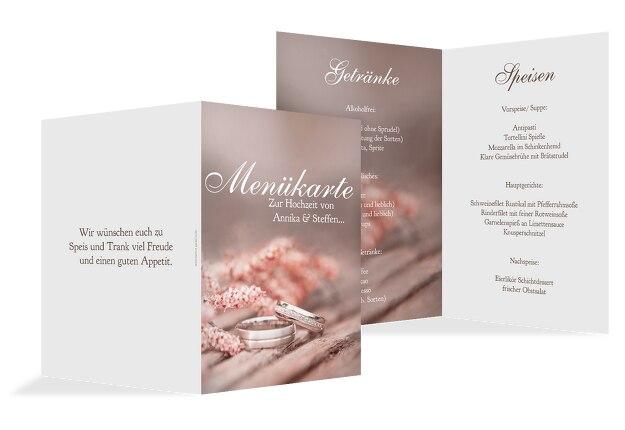 Hochzeit Menükarte Ringe