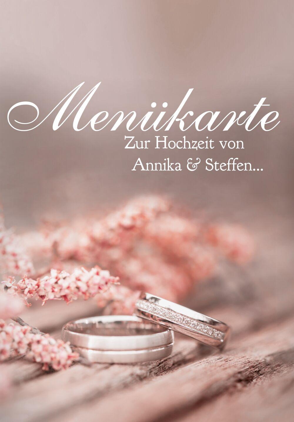 Ansicht 3 - Hochzeit Menükarte Ringe