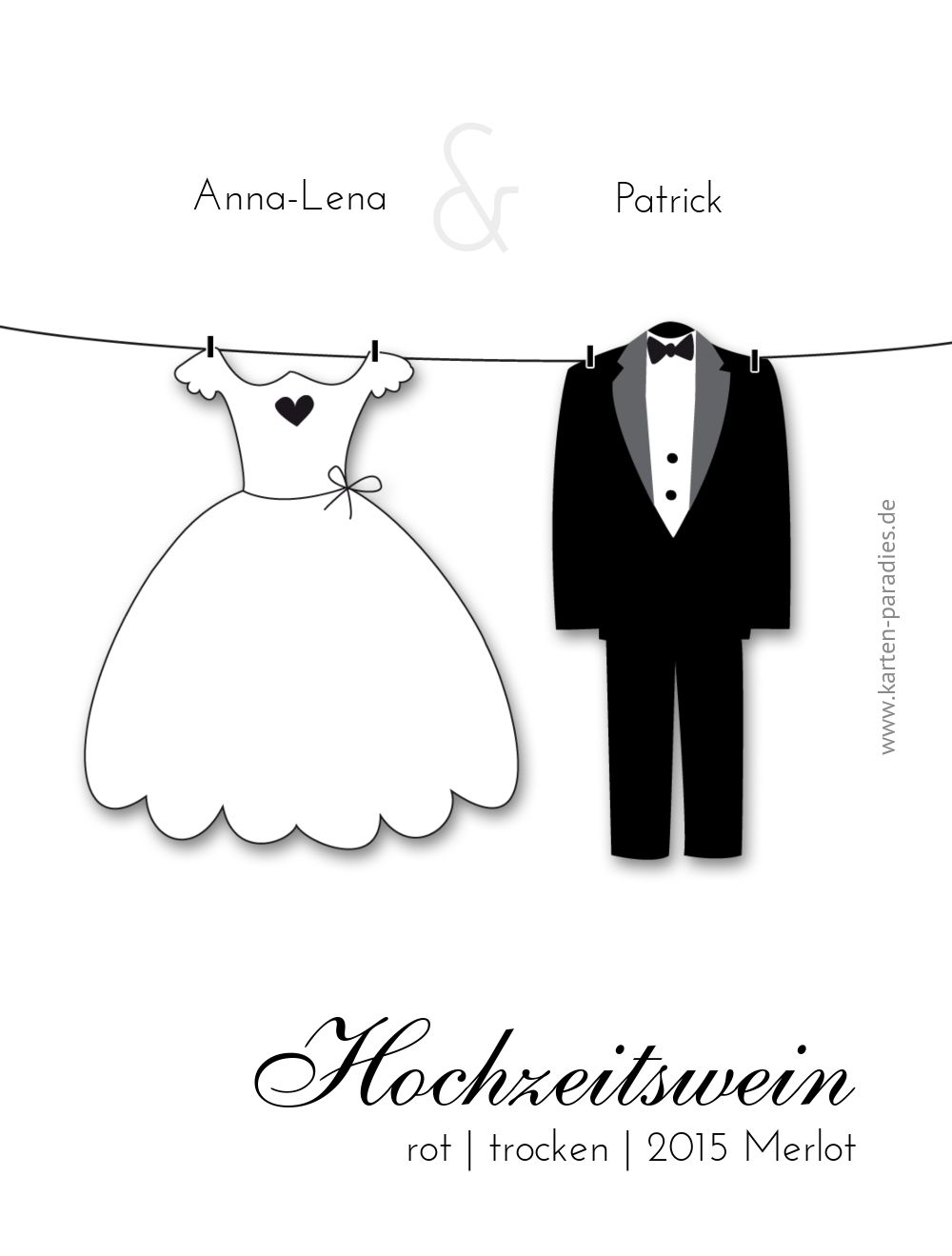 Ansicht 2 - Hochzeit Flaschenetikett dress and suit