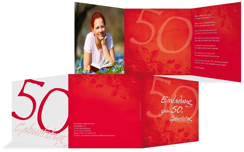 Geburtstagskarte floral verspielt 50 Foto