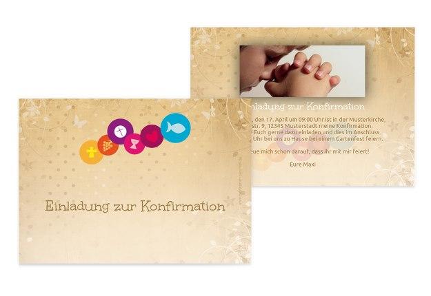 Einladungskarten Konfirmation Bestellen Einladungskarten: Konfirmation Einladungskarte Bunte Elemente Selbst Gestalten