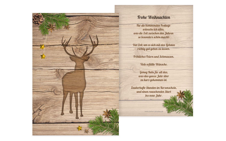 Weihnachtsgrußkarte Holzhirsch