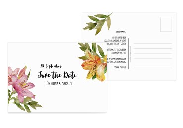 Save-the-Date Blumendeko Weiß 148x105mm