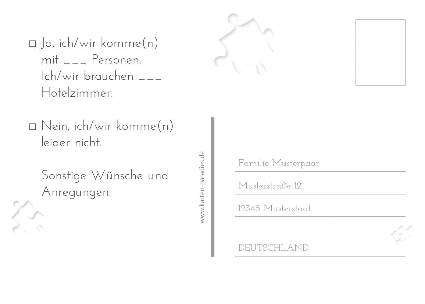 Ansicht 3 - Hochzeit Antwortkarte Puzzle
