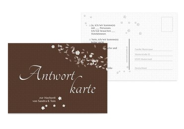 Antwortkarte romantic flower braunmatsch 148x105mm