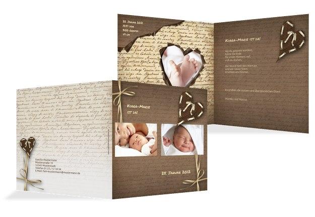Babykarte Gedicht mit Herz