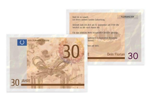 Einladungskarte Geldschein 30